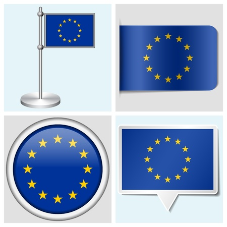 European Union flag - set of various sticker, button, label and flagstaff