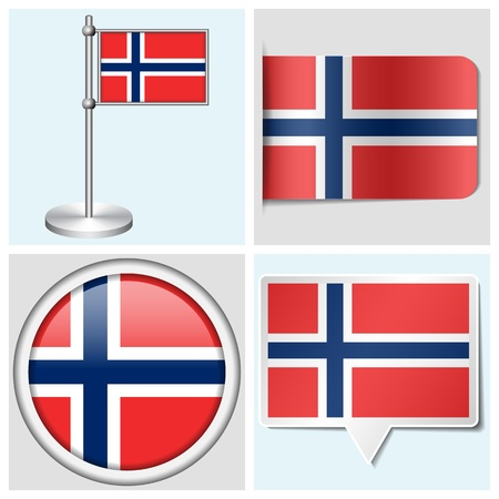 Norway flag - set of various sticker, button, label and flagstaff Illustration