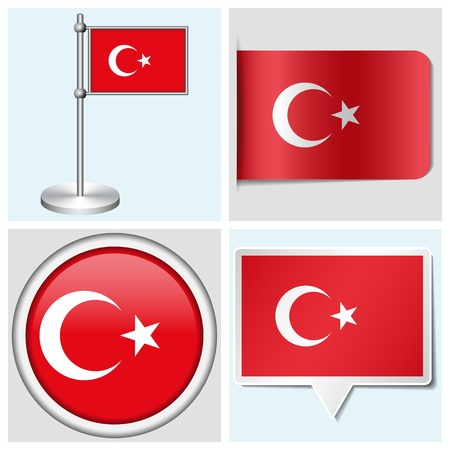 Turkey flag - set of various sticker, button, label and flagstaff