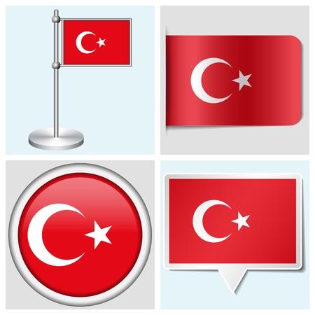 flagstaff: Turkey flag - set of various sticker, button, label and flagstaff