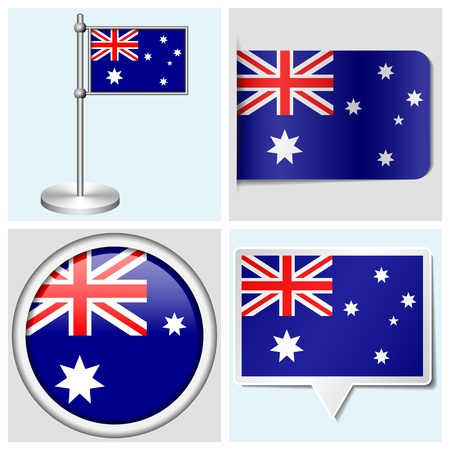 Australia flag - set of various sticker, button, label and flagstaff Illustration