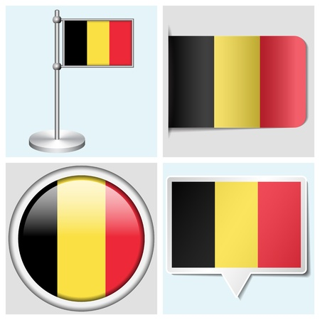 Belgium flag - set of various sticker, button, label and flagstaff