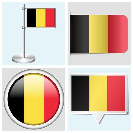 flagstaff: Belgium flag - set of various sticker, button, label and flagstaff