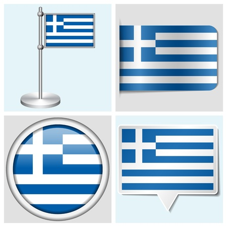 Greece flag - set of various sticker, button, label and flagstaff