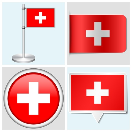 Switzerland flag - set of various sticker, button, label and flagstaff