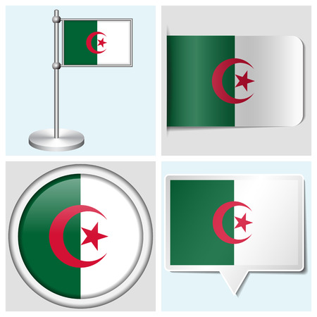 Algeria flag - set of vaus sticker, button, label and flagstaff Stock Vector - 22456343
