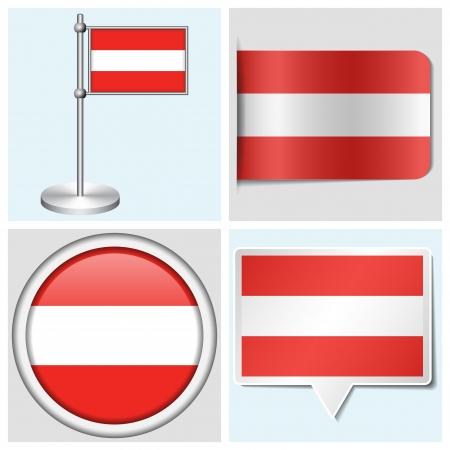 flagstaff: Austria flag - set of various sticker, button, label and flagstaff Illustration