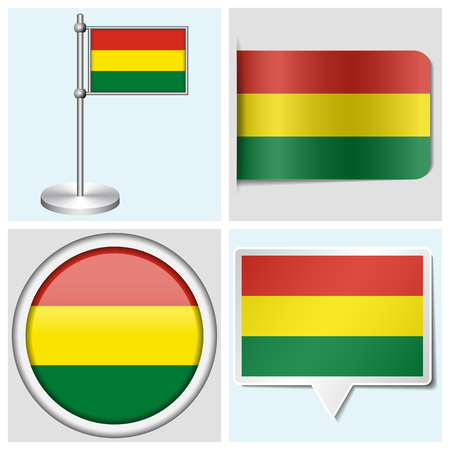 flagstaff: Bolivia flag - set of various sticker, button, label and flagstaff
