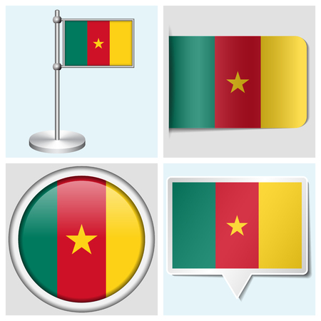flagstaff: Cameroon flag - set of various sticker, button, label and flagstaff Illustration