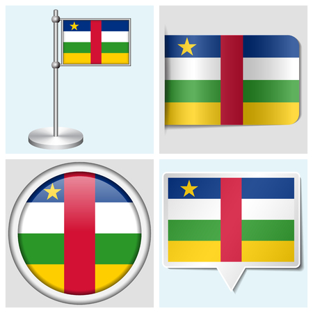 african grey: Central African Republic flag - set of various sticker, button, label and flagstaff