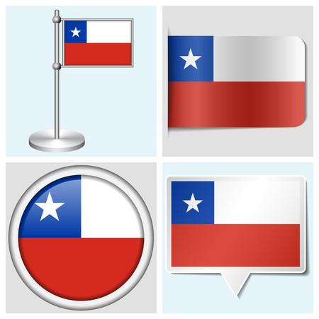 bandera de chile: Chile bandera - juego de etiqueta diferentes, bot�n, etiqueta y asta