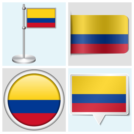 Columbia flag - set of various sticker, button, label and flagstaff Illustration