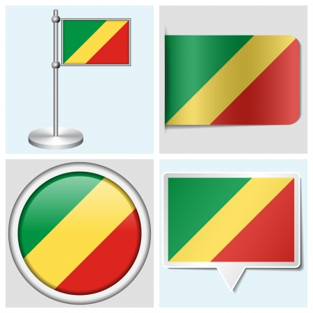 flagstaff: Congo flag - set of various sticker, button, label and flagstaff