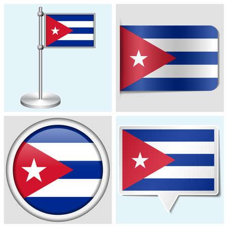 flagstaff: Cuba flag - set of various sticker, button, label and flagstaff