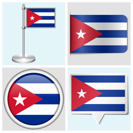 Cuba flag - set van verschillende sticker, button, label en vlaggemast