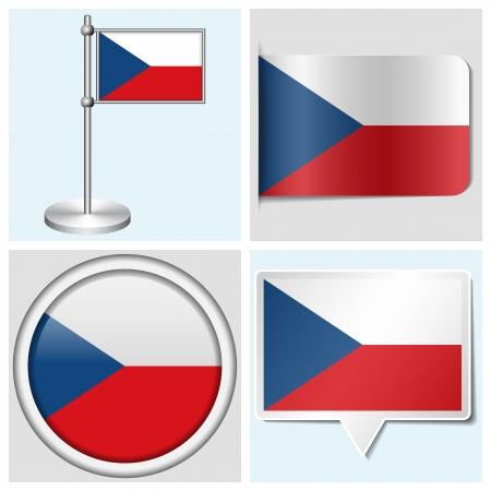 czech flag: Czech flag - set di vari adesivo, bottoni, etichette e Flagstaff Vettoriali