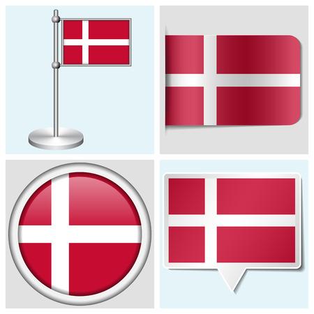 flagstaff: Denmark flag - set of various sticker, button, label and flagstaff Illustration