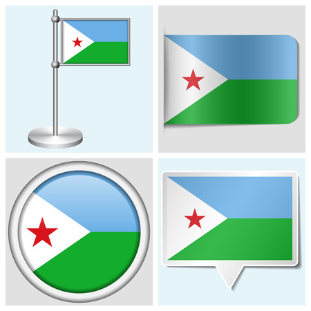 Djibouti flag - set of various sticker, button, label and flagstaff