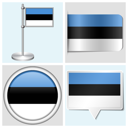 Estonia flag - set of various sticker, button, label and flagstaff