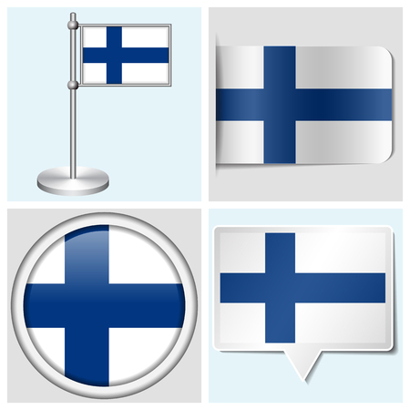 flagstaff: Finland flag - set of various sticker, button, label and flagstaff