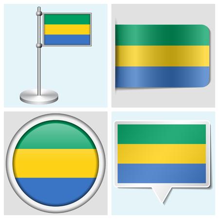 flagstaff: Gabon flag - set of various sticker, button, label and flagstaff