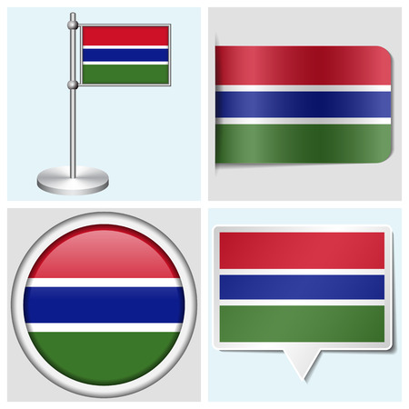 gambia: Gambia flag - set of various sticker, button, label and flagstaff