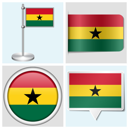 flagstaff: Ghana flag - set of various sticker, button, label and flagstaff Illustration