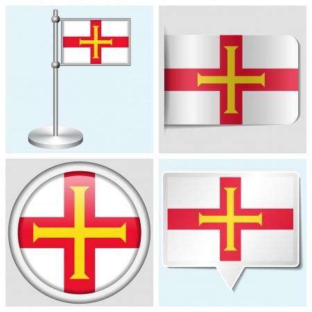 flagstaff: Guernsey flag - set of various sticker, button, label and flagstaff