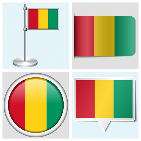 flagstaff: Guinea flag - set of various sticker, button, label and flagstaff