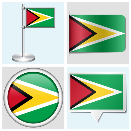 guyana: Guyana flag - set of various sticker, button, label and flagstaff