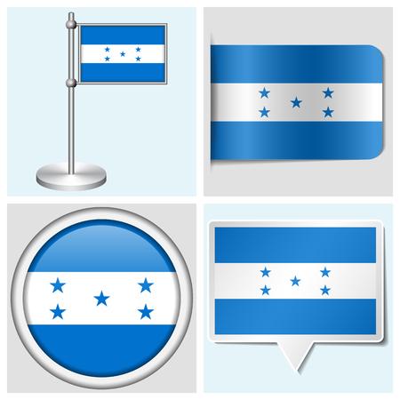 flagstaff: Honduras flag - set of various sticker, button, label and flagstaff