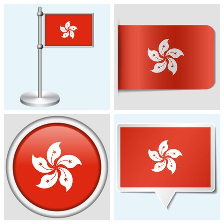Hong Kong flag - set of various sticker, button, label and flagstaff Illustration