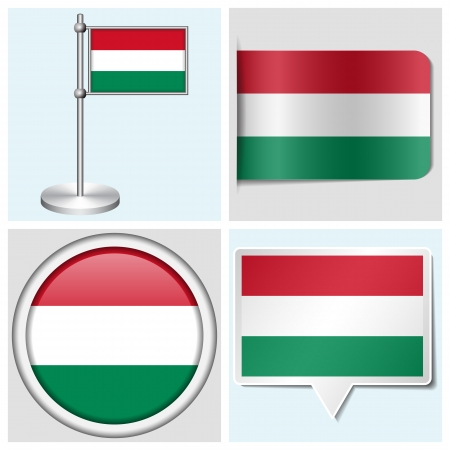 Hungary flag - set of various sticker, button, label and flagstaff Illustration