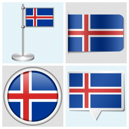 Iceland flag - set of various sticker, button, label and flagstaff Vector