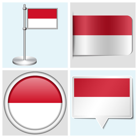 Indonesia flag - set of various sticker, button, label and flagstaff Illustration