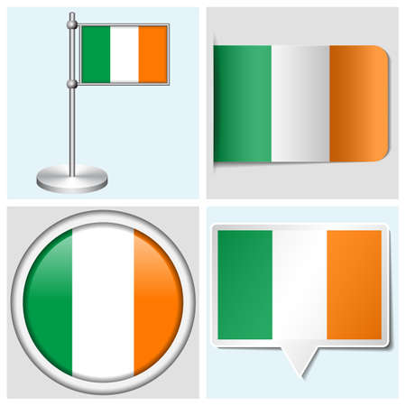 Ireland flag - set of various sticker, button, label and flagstaff Stock Vector - 22456465
