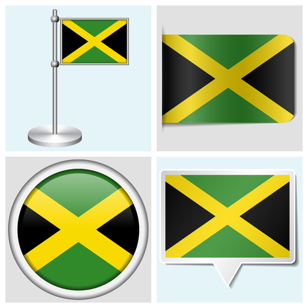 Jamaica flag - set of various sticker, button, label and flagstaff