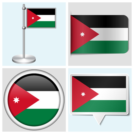 Jordan flag - set of various sticker, button, label and flagstaff