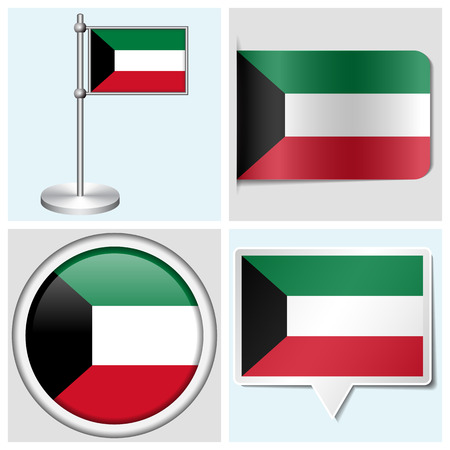 Kuwait flag - set of various sticker, button, label and flagstaff Illustration