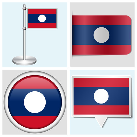 Laos flag - set of various sticker, button, label and flagstaff Illustration