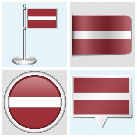 Latvia flag - set of various sticker, button, label and flagstaff