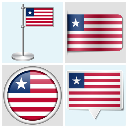 Liberia flag - set of various sticker, button, label and flagstaff Illustration
