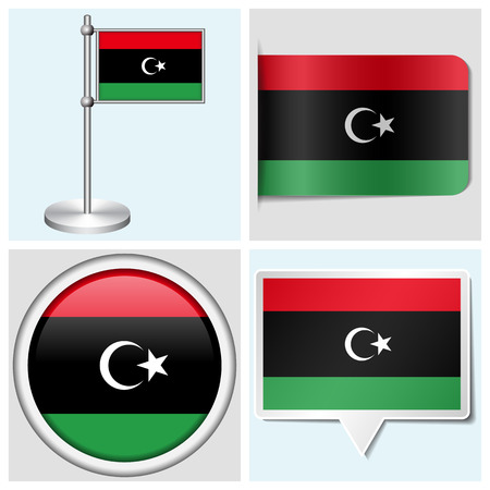 Libya flag - set of various sticker, button, label and flagstaff
