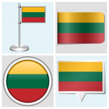 Lithuania flag - set of various sticker, button, label and flagstaff