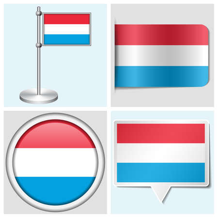 flagstaff: Luxembourg flag - set of various sticker, button, label and flagstaff Illustration