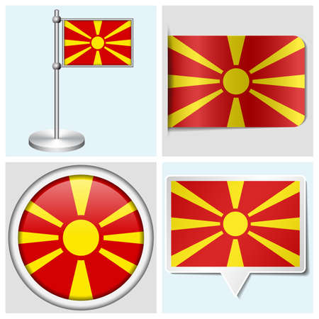 Macedonia flag - set of various sticker, button, label and flagstaff