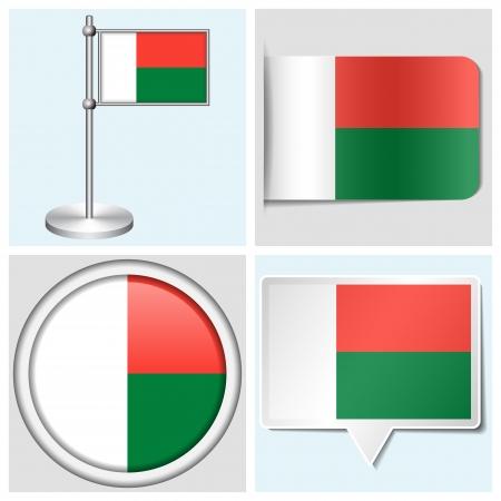 Madagascar flag - set of various sticker, button, label and flagstaff Illustration