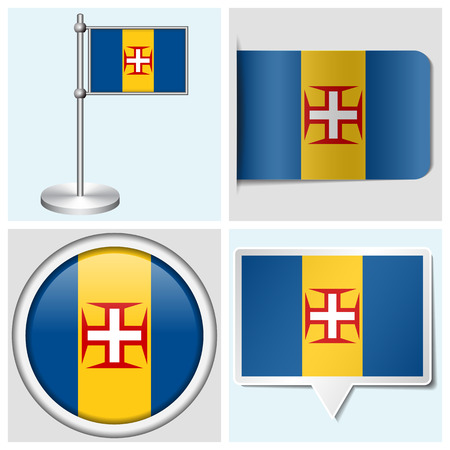 Madeira flag - set of various sticker, button, label and flagstaff Illustration