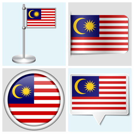 Malaysia flag - set of various sticker, button, label and flagstaff Illustration