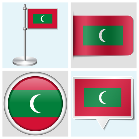 Maldives flag - set of various sticker, button, label and flagstaff